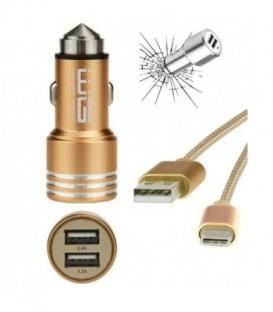 WG Ładowarka samochodowa dual USB (2,4A) SMART IC+ dat. kabel Micro USB TYPE-C