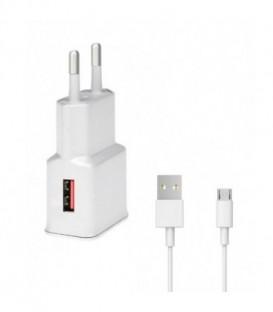WG Ładowarka sieciowa Fast USB (2,4A) QC 3.0 + kabel Micro USB /white (5V/9V/12