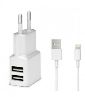 WG Ładowarka sieciowa DUAL USB (2.4A)+ kabel MFIoriginal iPhone 5/6/7/8white /