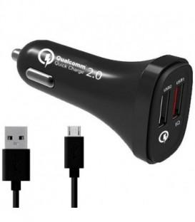 WG Ładowarka samochodowa FAST Qualcomm 2.0 Dual USB (4,8A) + dat. kabel Micro U