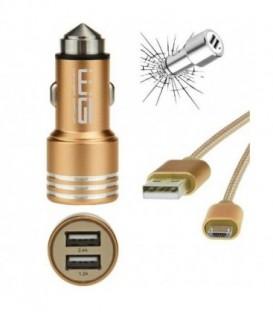 WG Ładowarka samochodowa dual USB (2,4A) SMART IC+ dat. kabel Micro USB/gold