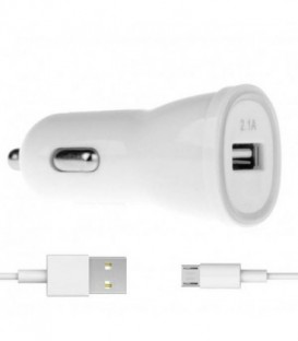 WG Ładowarka samochodowa FAST USB (2,4A) QC 3.0+ kabel Micro USB /white (5V/9V