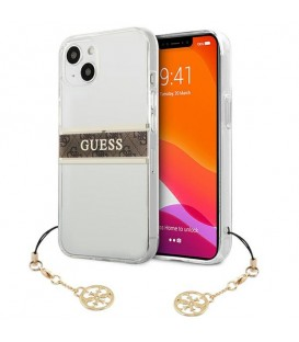 Etui Guess GUHCP13MKB4GBR Apple iPhone 13 Transparent hardcase 4G Brown Strap Charm